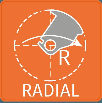 Radiális zárnyelv: az ajtó és a tok közötti hézag minimálisra csökkenthető.